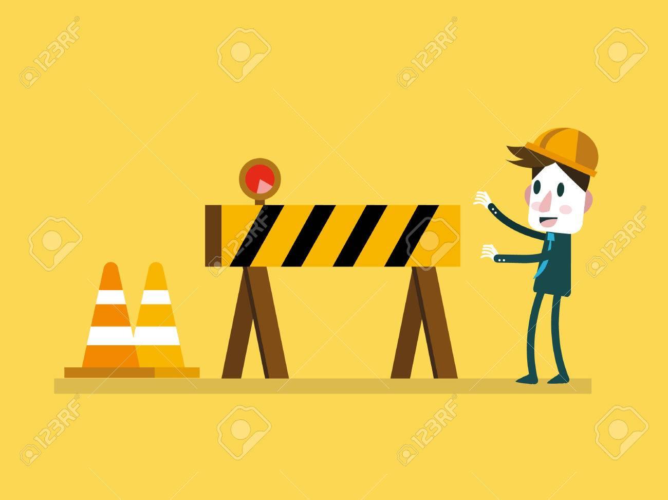 Businessman and Under Construction sign. vector illustration - 36377557
