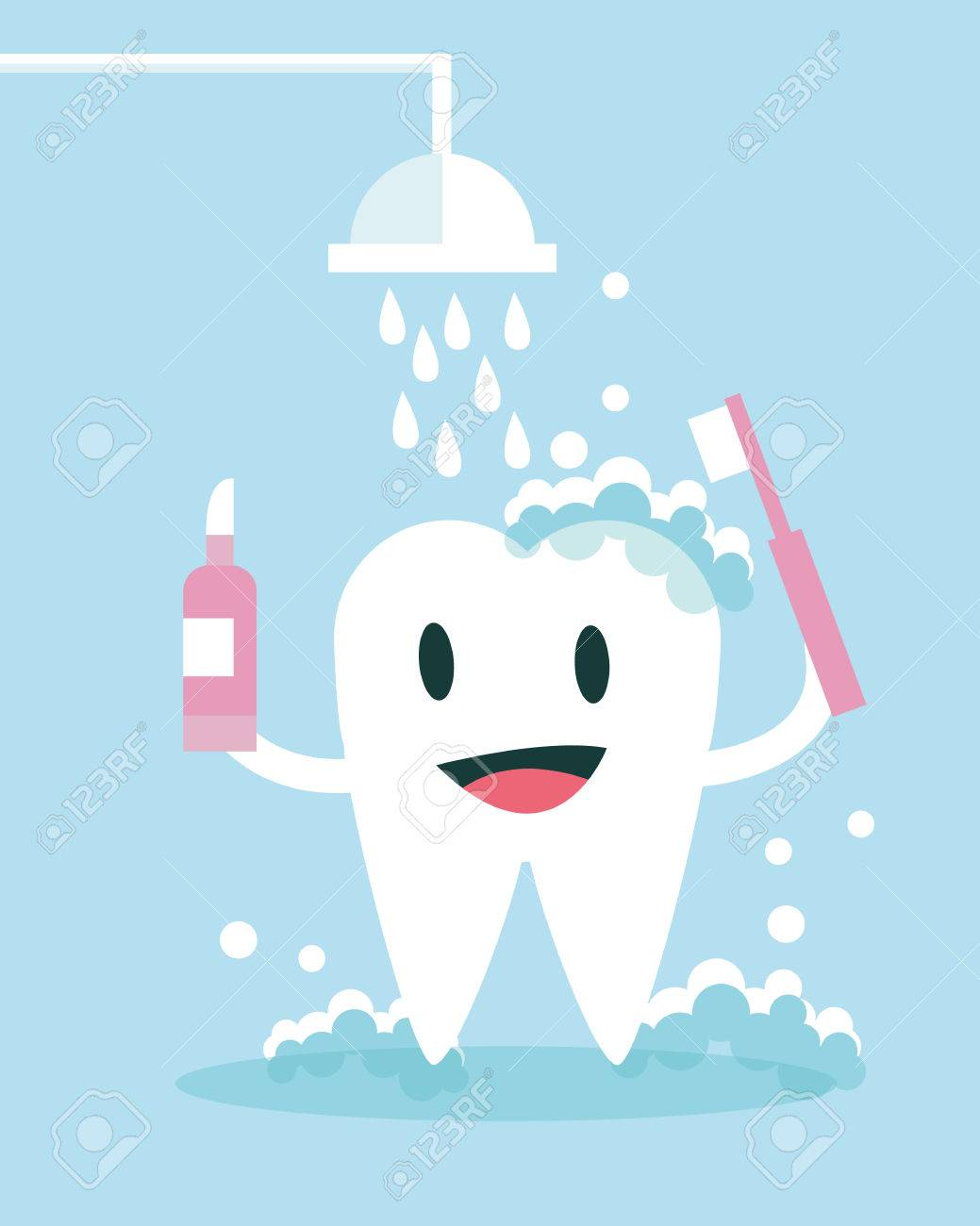 Tooth Brushing and take shower Itself. flat character design. vector illustration - 36975280