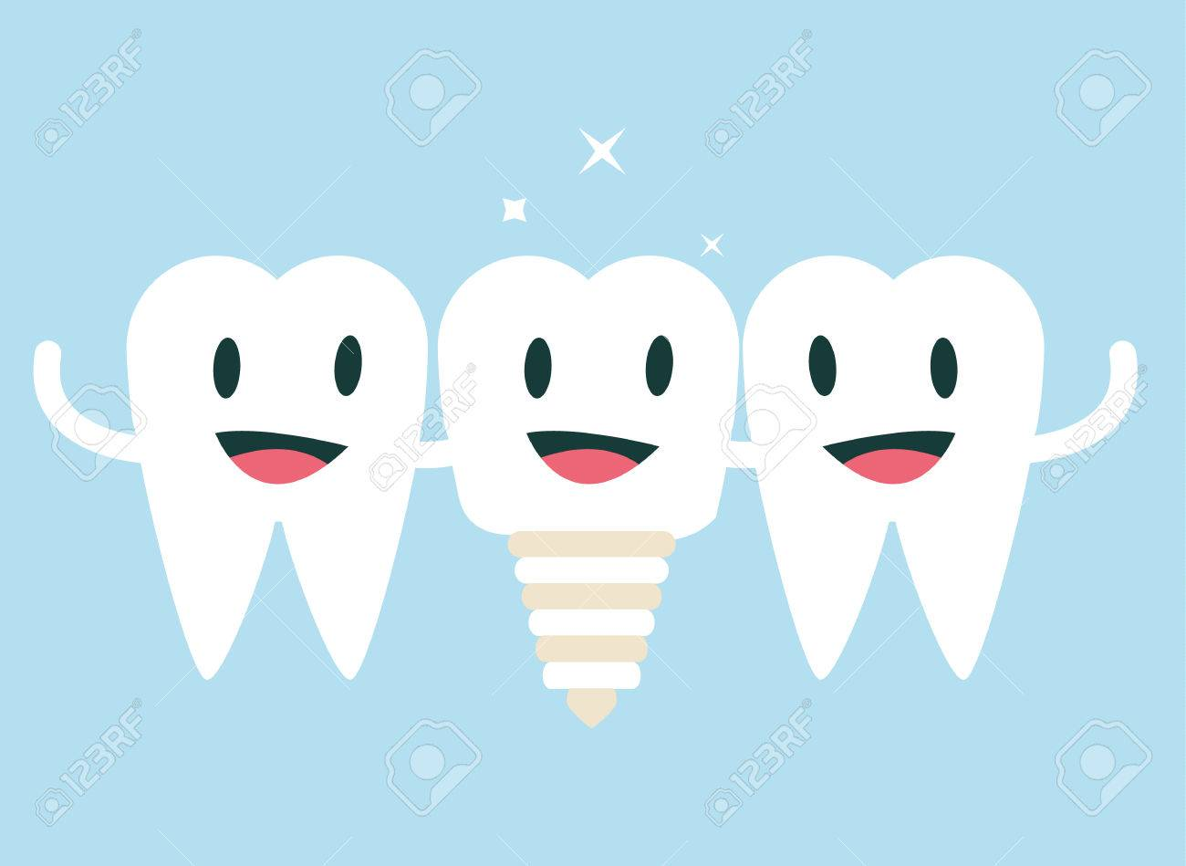 Tooth happy with new friend, implantation tooth concept. flat character design. vector illustration - 36974954