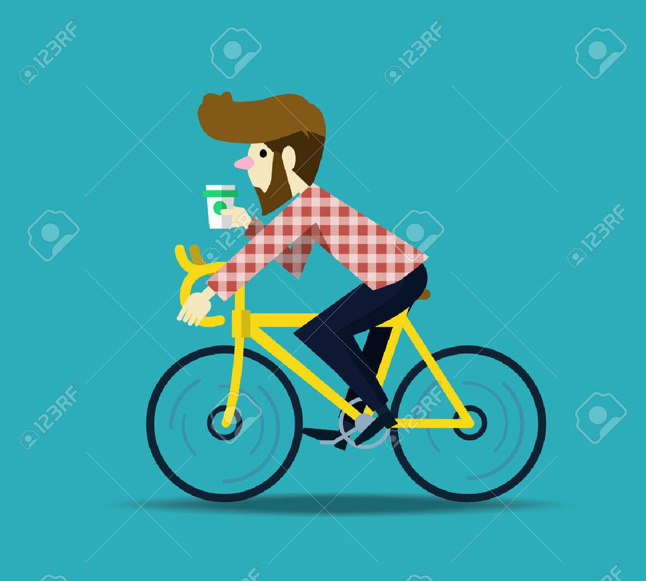 Hipster man cycling his fixie bike. flat design character. vector illustration - 38380198