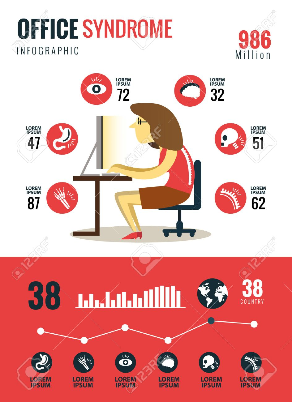 Office syndrome Infographics. flat character and icons design. vector illustration - 42211897