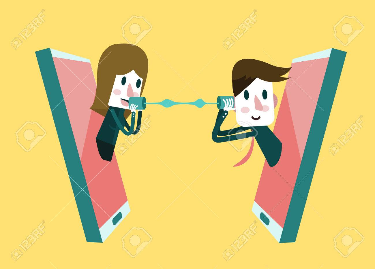 Man and woman talking on a mobile phone - 44351470
