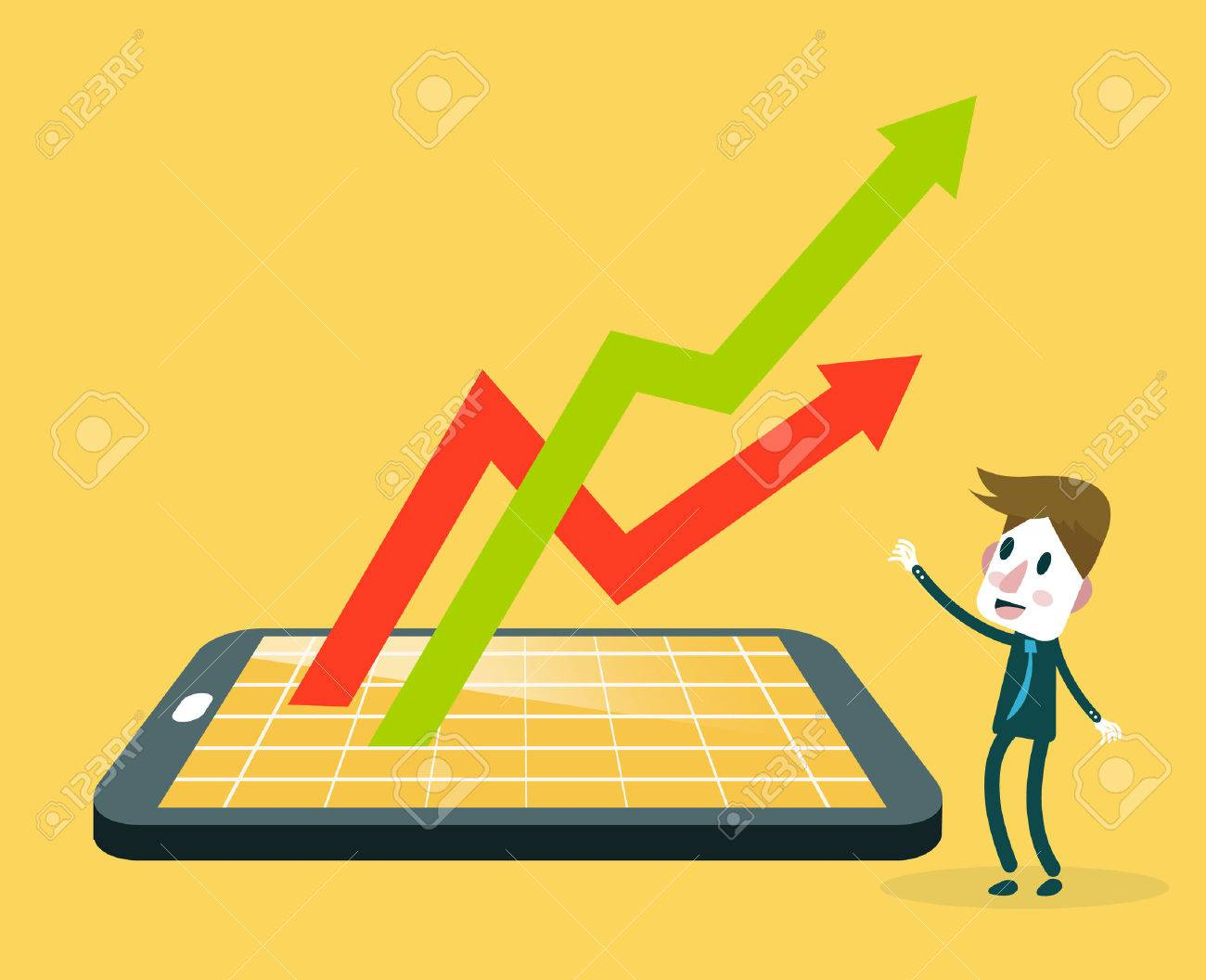 Businessman watching smartphone with stock market application and growth graph. v - 44351478