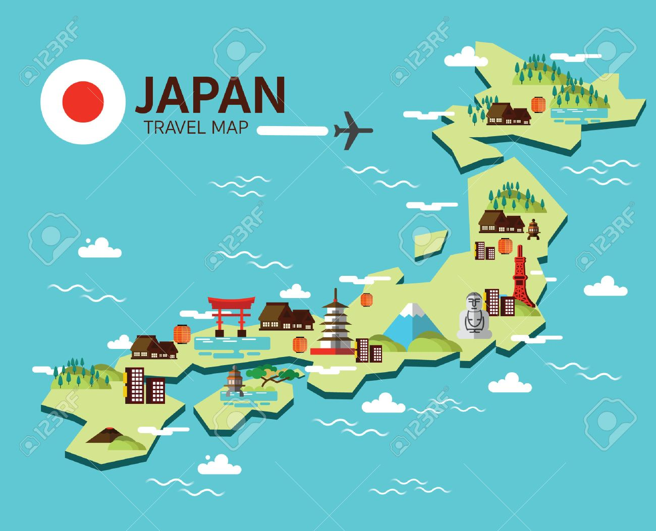 Japan Landmark And Travel Map Flat Design Elements And Icons - Japan map vector art
