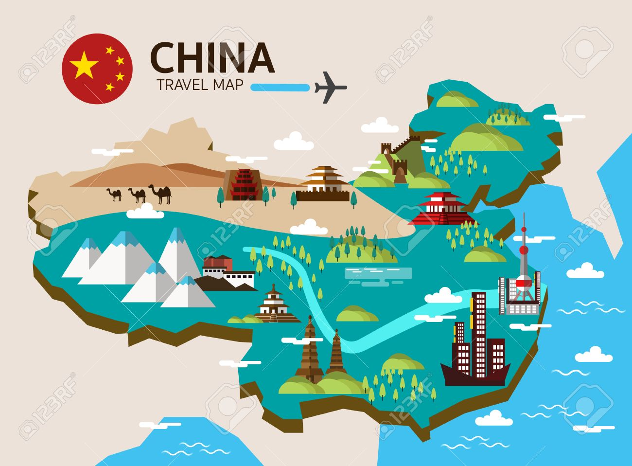 China landmark and travel map. Flat design elements and icons. vector illustration - 46099041