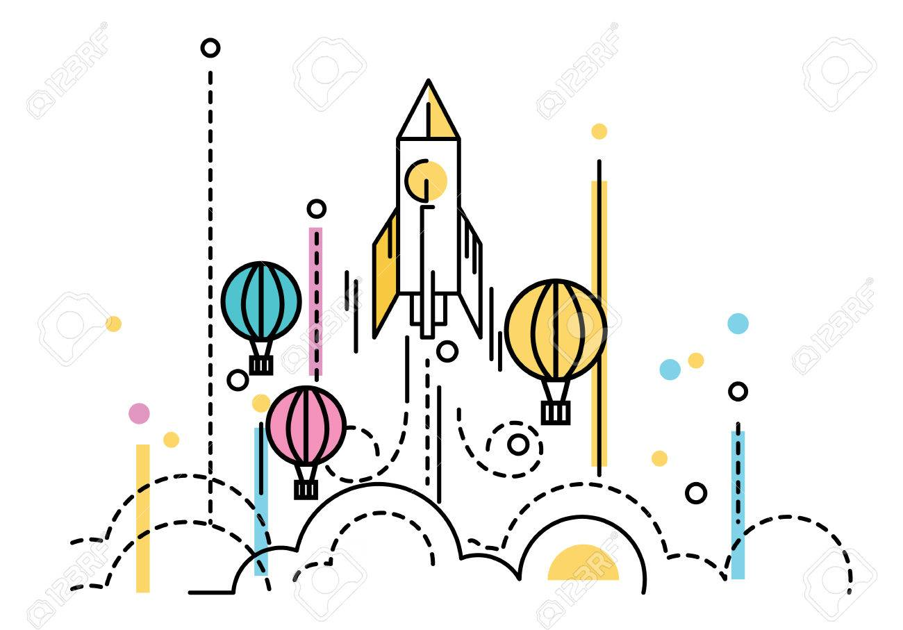 Rocket launching over the hot air balloons. Business competition concept. flat line design. Vector illustration - 49256925