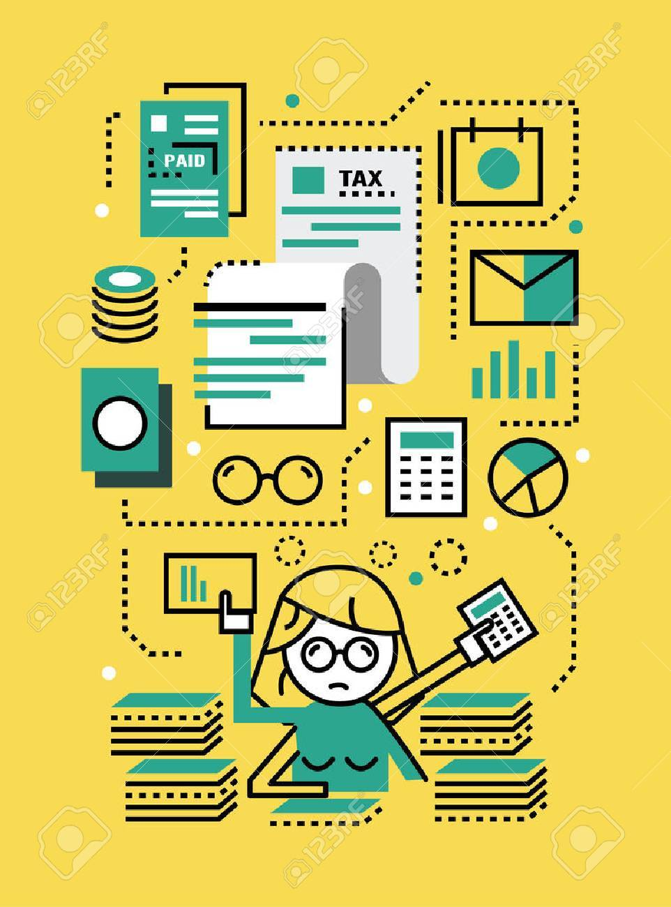 Busy Business woman with Tax documents. Tax concept. flat line icons design. vector illustration - 49256929