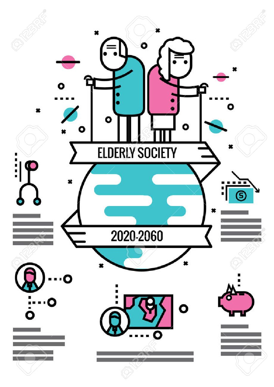 Elderly Society info graphics and icons.flat thin line design elements. vector illustration - 49687372