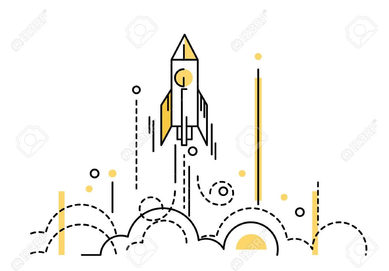 Rocket launch. creative start up. flat thin line design elements. vector illustration - 49687371