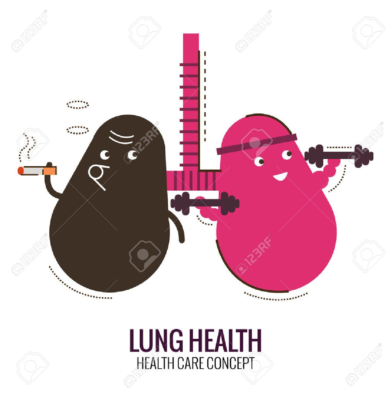 Lungs of a healthy person and smoker. Danger of smoking. Character thin line flat design. vector illustration - 52244928