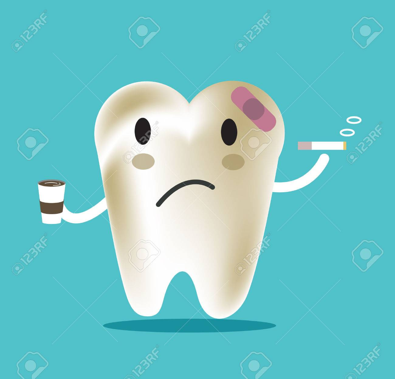 Unhealthy Tooth With Coffee And Smoke Great For Dental Care