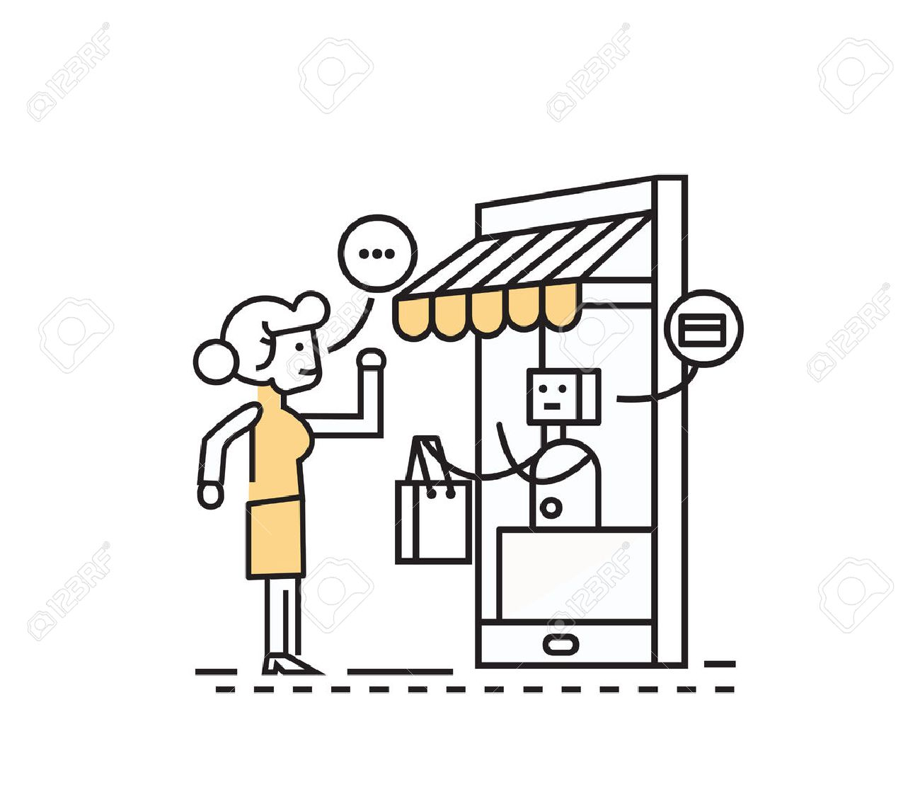 Online shopping and consumerism concept. Mobile grocery shopping e-commerce online store. flat line character design. - 63127688
