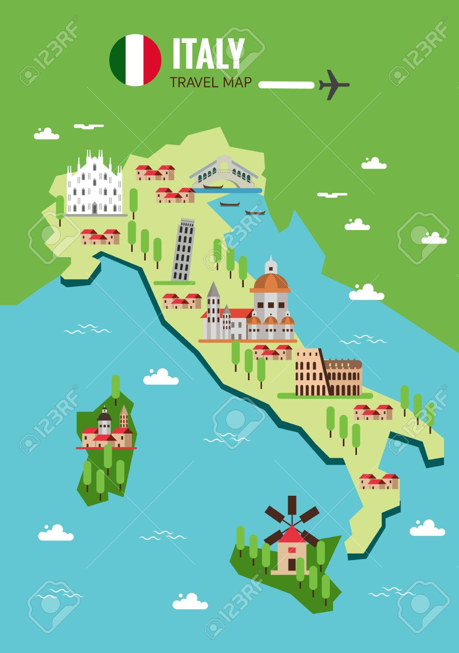 Map Of Italy Milan.Italy Travel Map Italian Colosseum Milan Venice Sicilia And