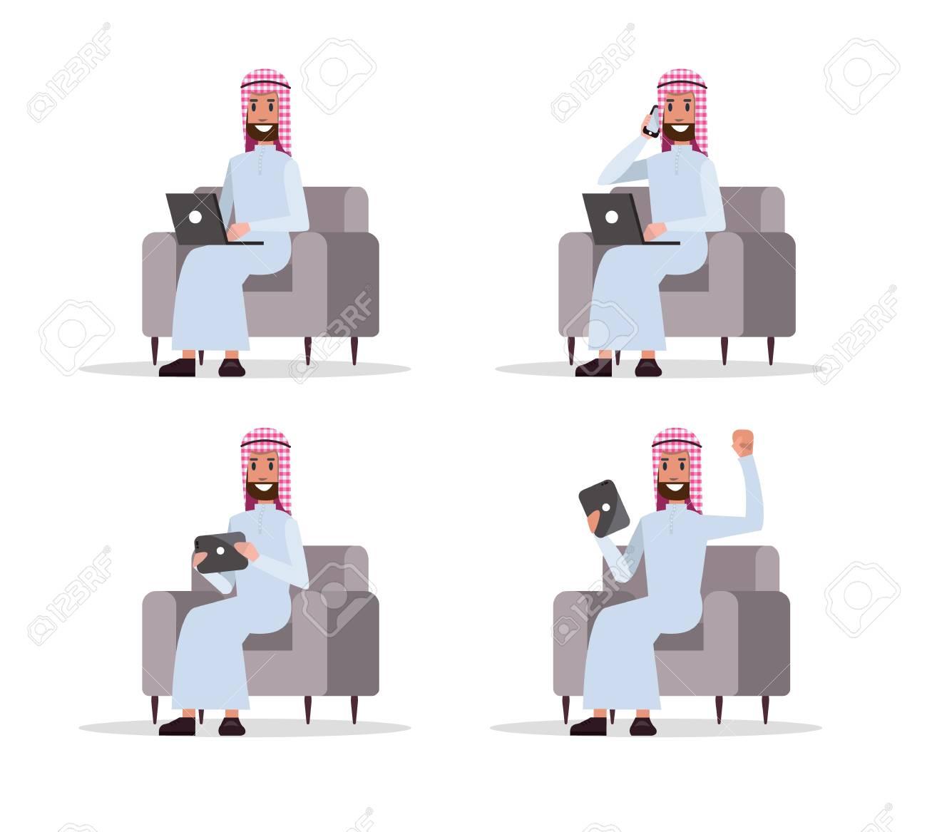 Beau Set Of Arab Business Man Using Device On Sofa. Flat Character Design.  Vector Illustration