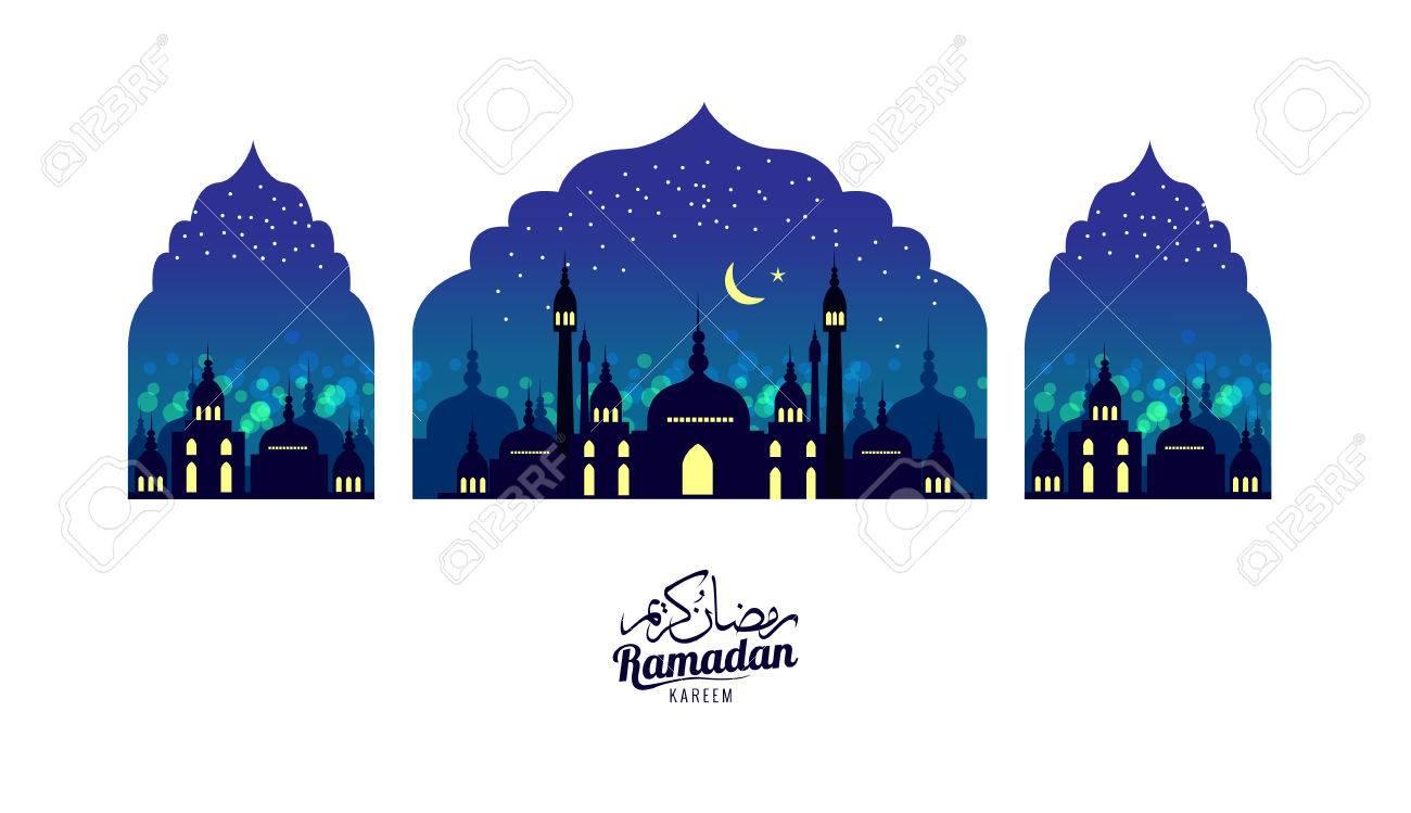 Ramadan Kareem. Beautiful greeting card. Scene with Mosque or Masjid. flat design elements. vector illustration - 78535723