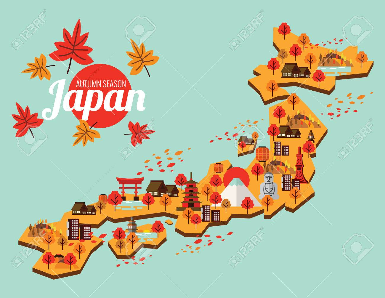 Map Of Japan Leaves Images Stock Pictures Royalty Free Map Of - Japan map cartoon