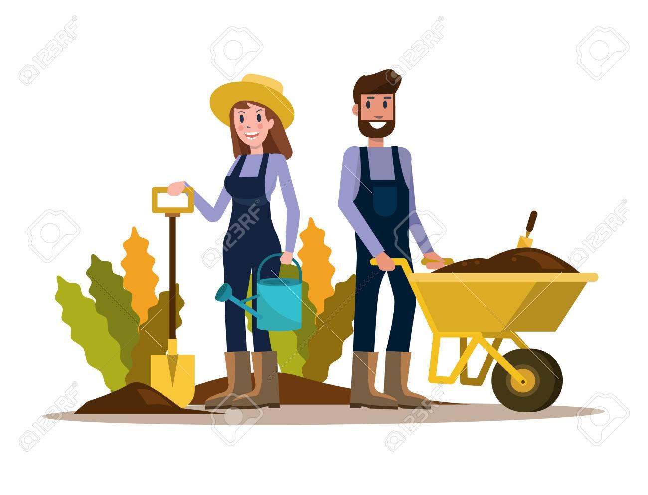 Couple of gardeners. flat character design. vector illustration - 81003581