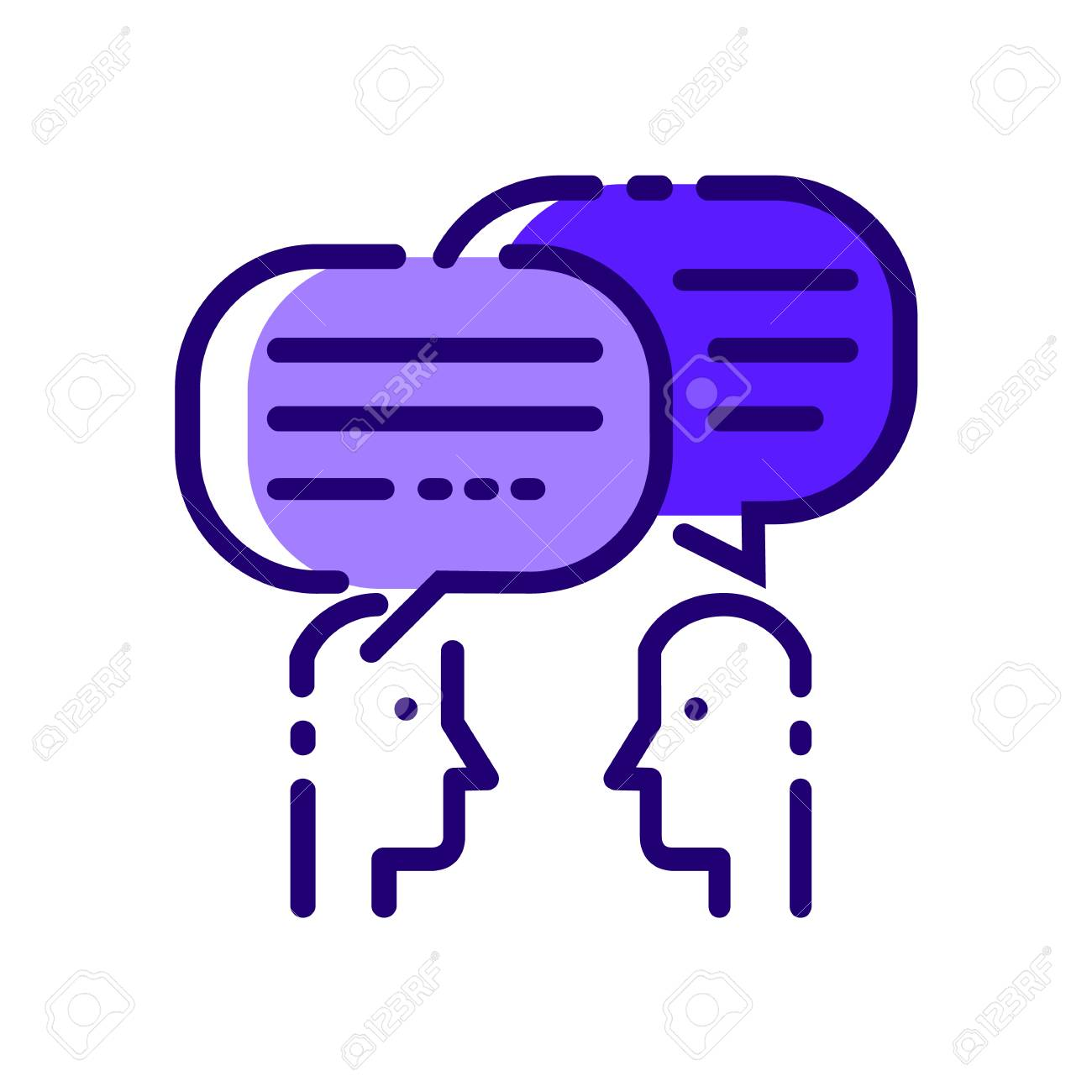 People Talking. Blue flat thin line icons. vector illustration - 87882973