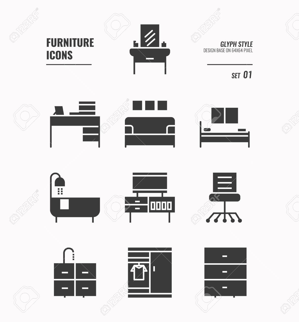 Amazing Furniture Icons Set 1 Office Chair Bed Bath Tube Cabinet Interior Design Ideas Tzicisoteloinfo