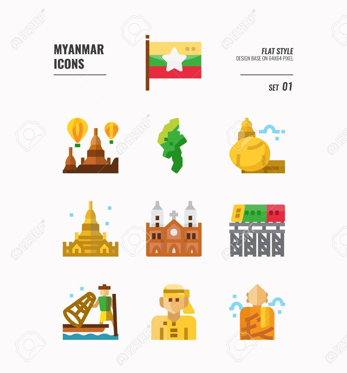 Myanmar icon set. Include flag, landmark, people, culture and more. Flat icons Design. vector - 129077344