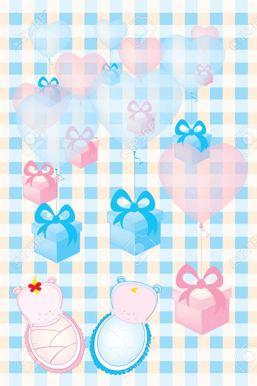 Baby Shower Invitation Card Twins Boy And Girl Royalty Free Cliparts ...
