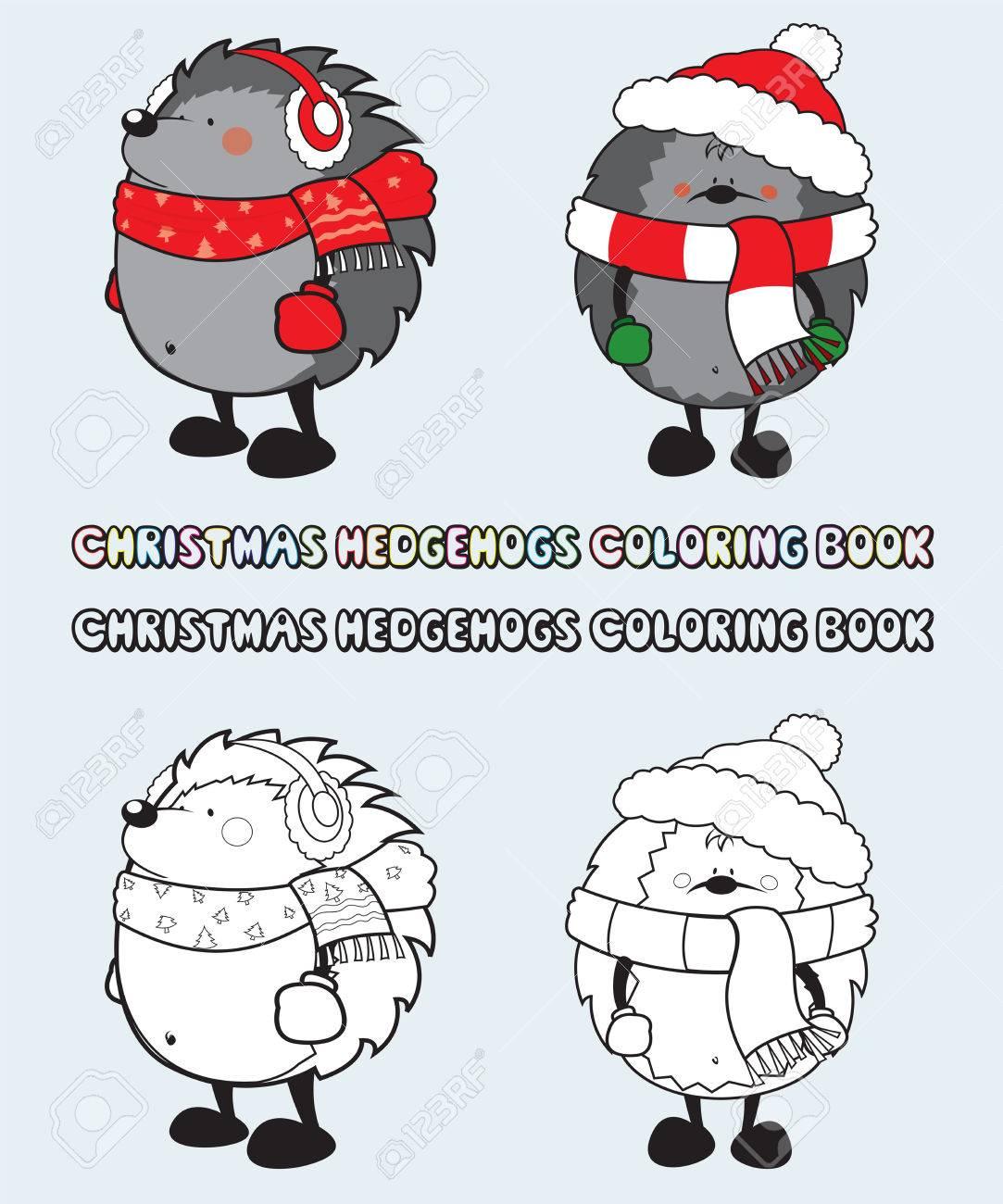 Juego De 2 Erizos De Navidad Para Colorear La Ilustración De Libros ...