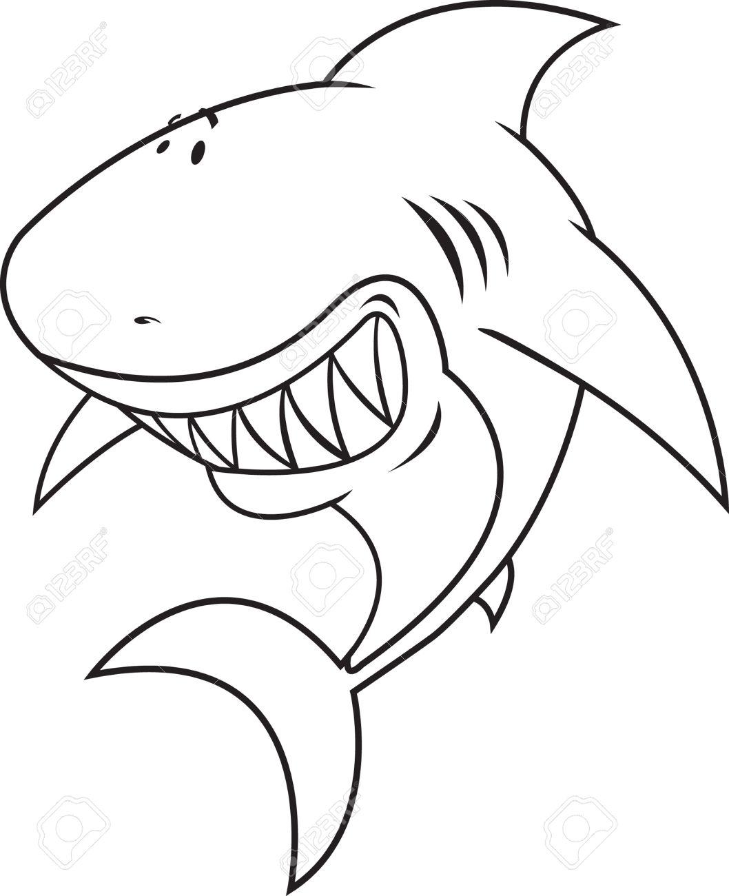 Gran Tiburón Blanco Libro Para Colorear Ilustración