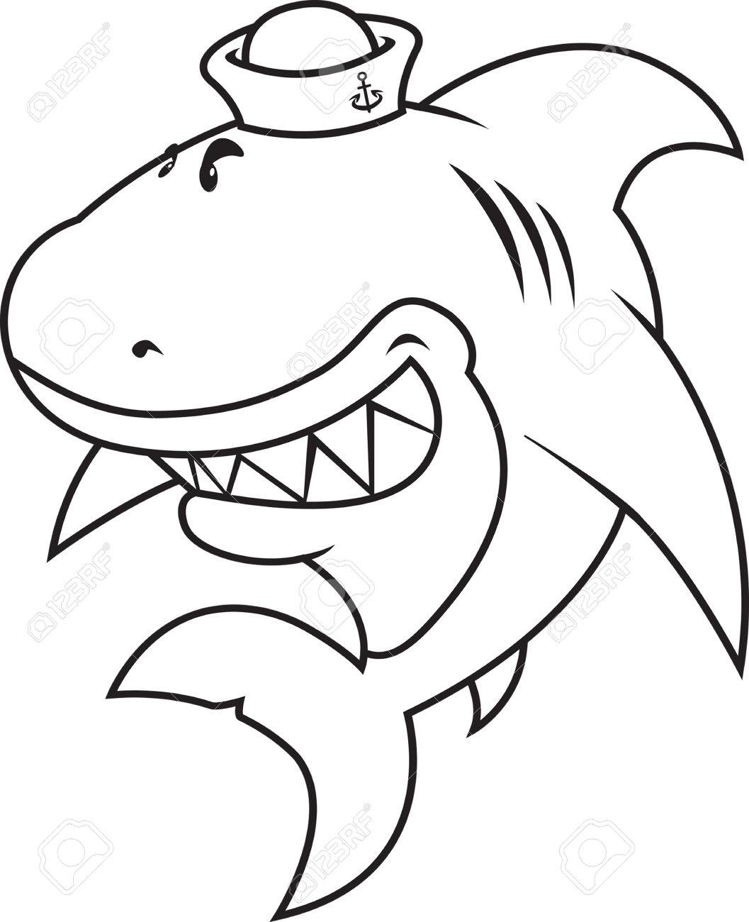 Funny Looking Great White Shark With Sailor Hatcoloring Book Stock Vector