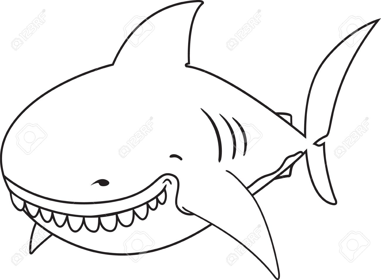 Cute Funny Looking Great White Shark Coloring Book Stock Vector