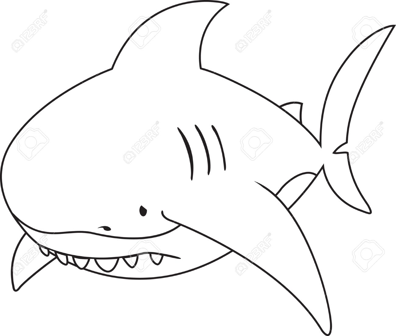 Sad Looking Great White Sharkcoloring Book Stock Vector