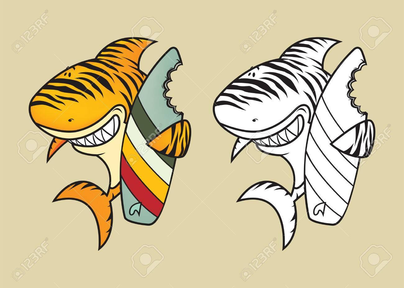 Lustige Tigerhai Mit Surfbrett Färbung Buchillustration Lizenzfrei ...