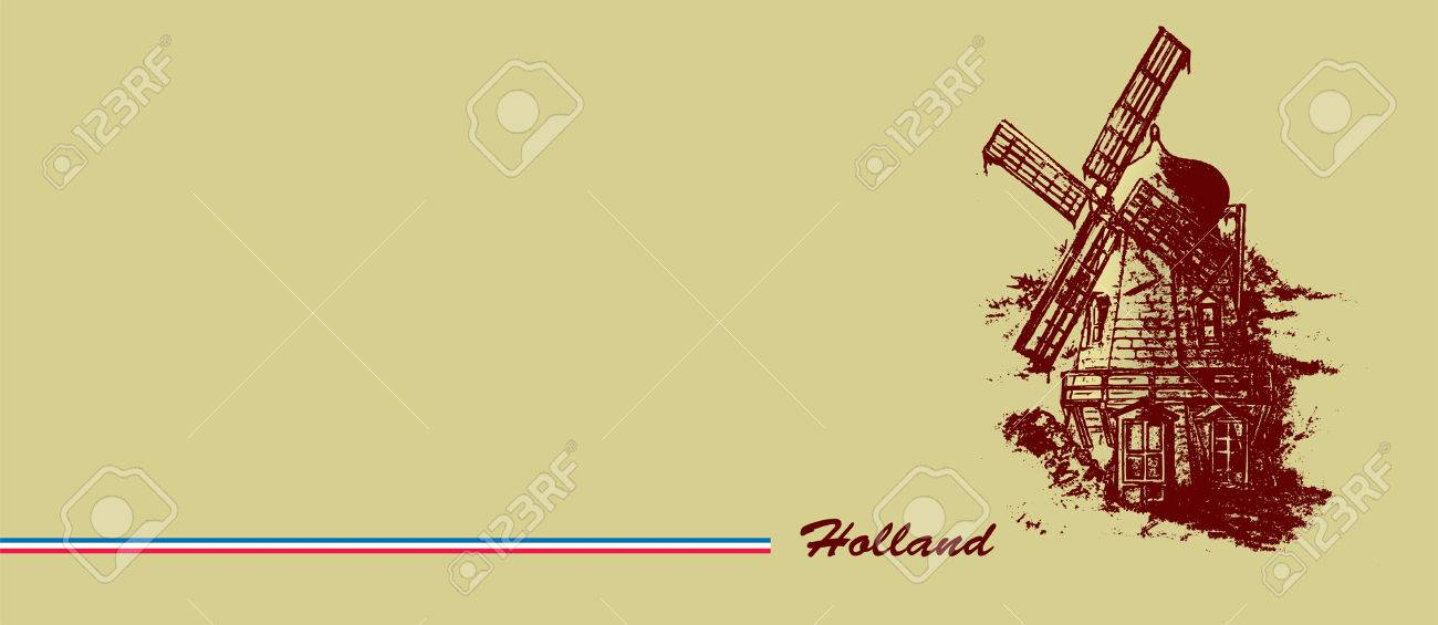 Old Dutch Windmill Pencil Drawing Banner Design Royalty Free