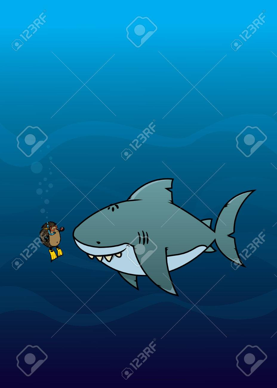 Hedgehog and shark.Funny,sweet and silly looking cartoon characters Stock Vector - 43931001