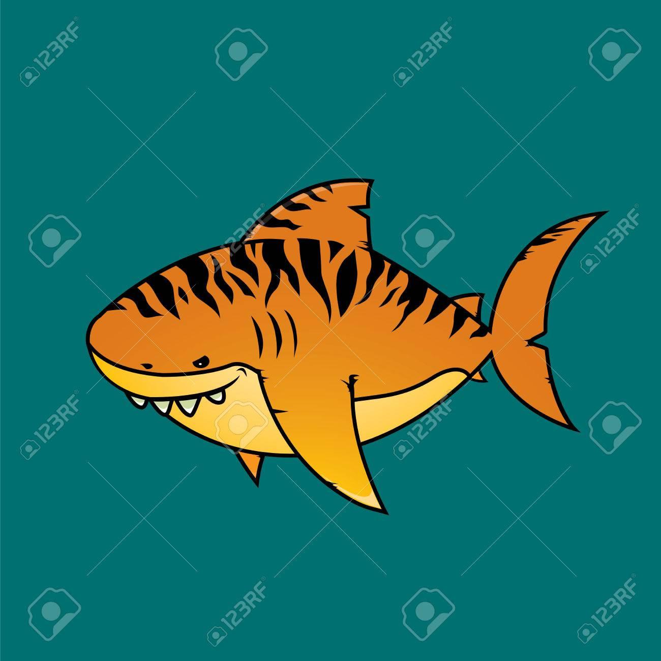 tiger shark isolated cartoon character royalty free cliparts rh 123rf com tiger shark cartoon tiger shark cartoon