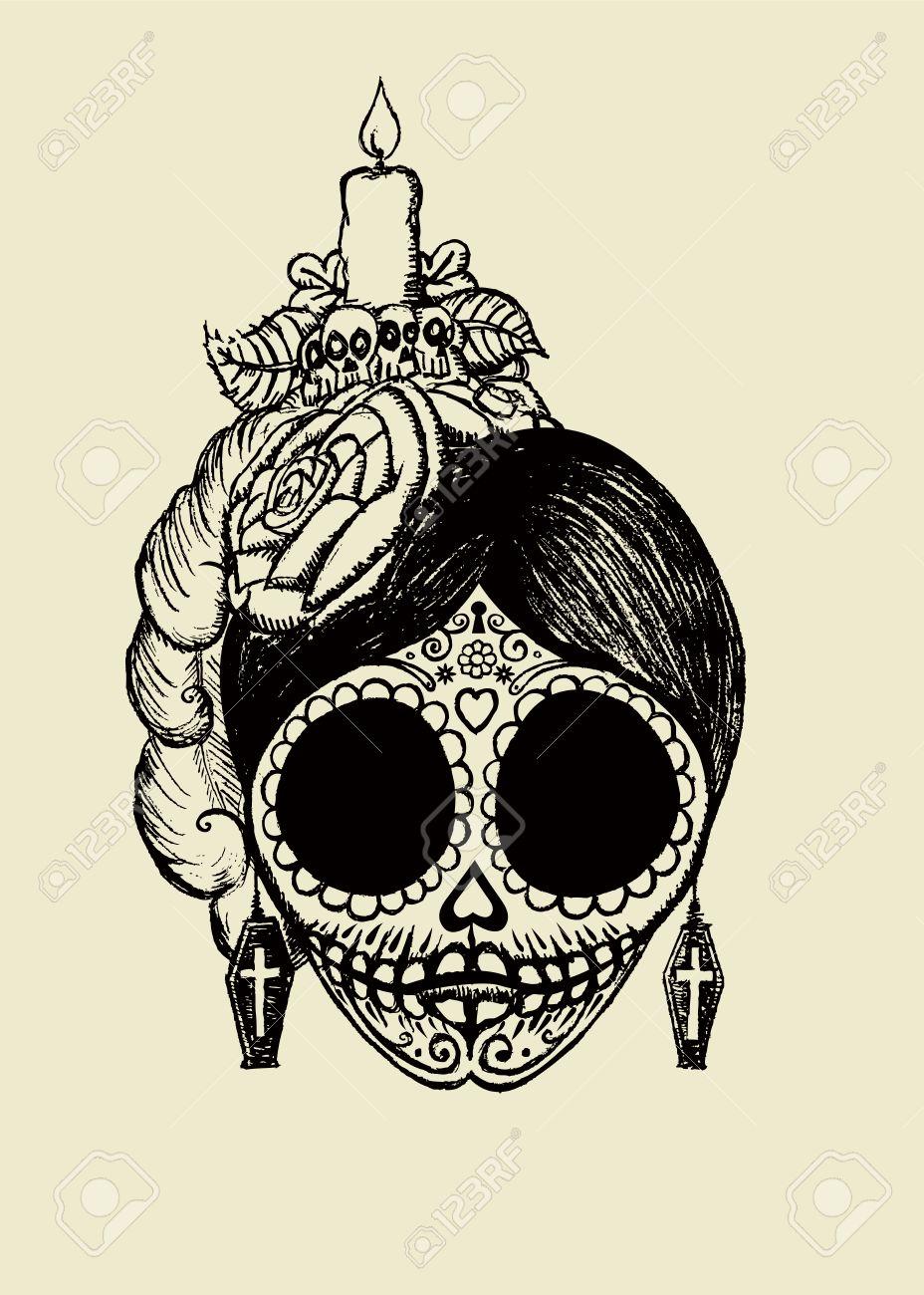 La Catrinamexican Sugar Skullisolated Vector Illustration Royalty