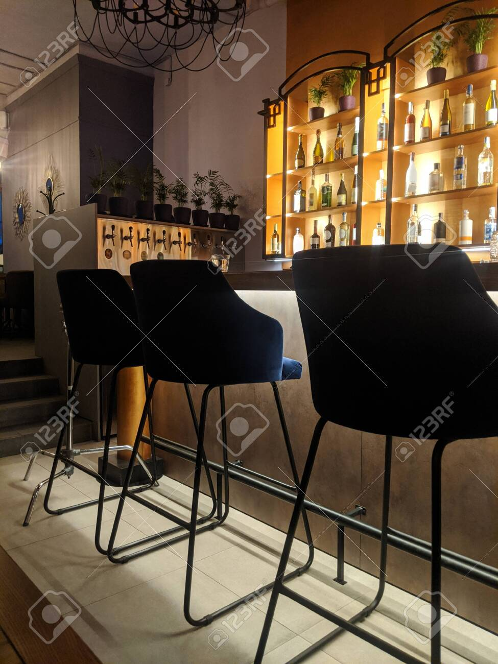 Modern Restaurant Interior Detail With Bar Stools Near Counter Stock Photo Picture And Royalty Free Image Image 144442634