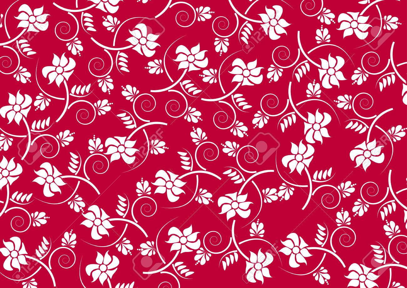 White Floral Pattern On Red Background Royalty Free Cliparts