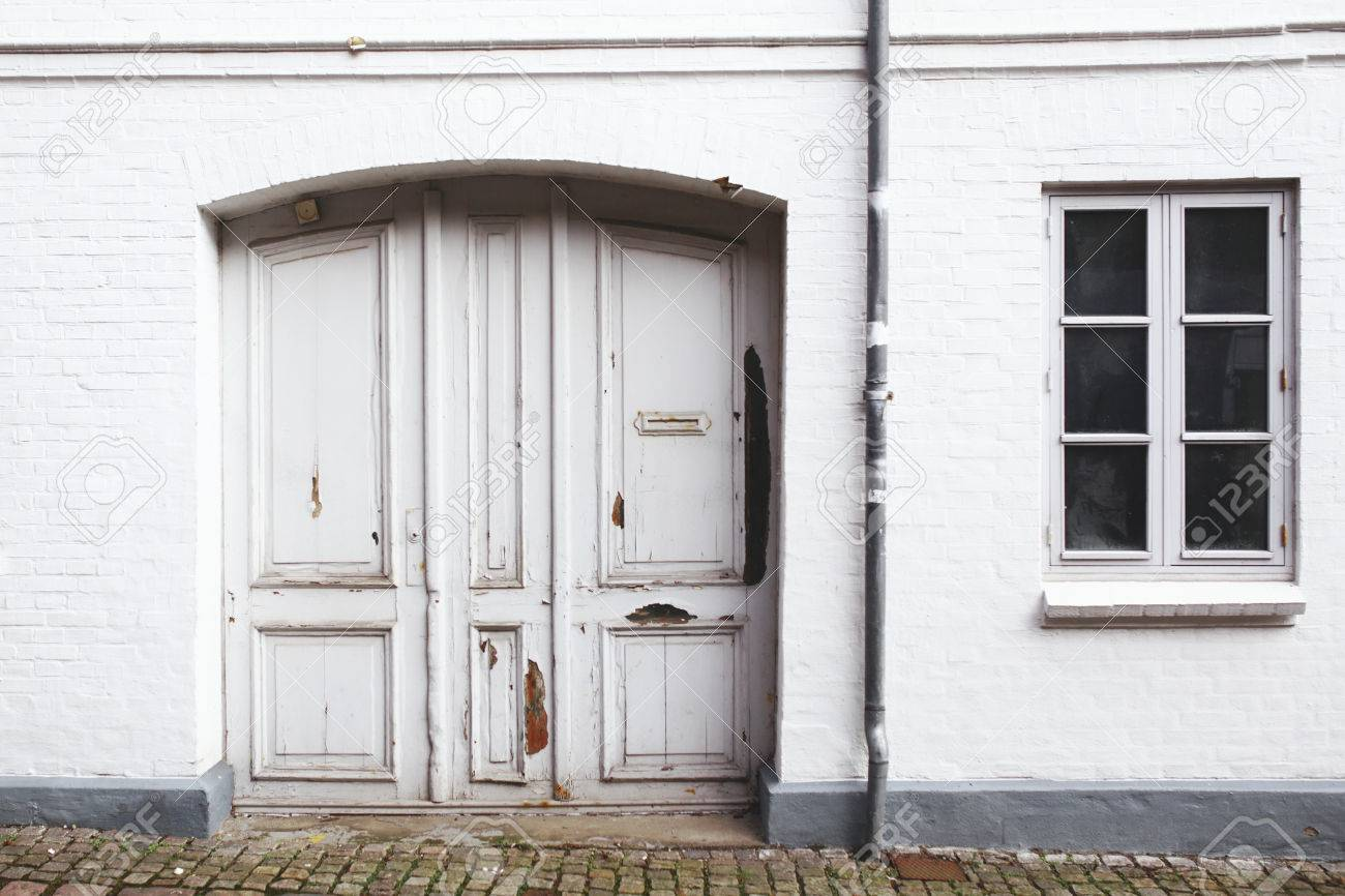 Old danish house white doors windows stock photo 47921752