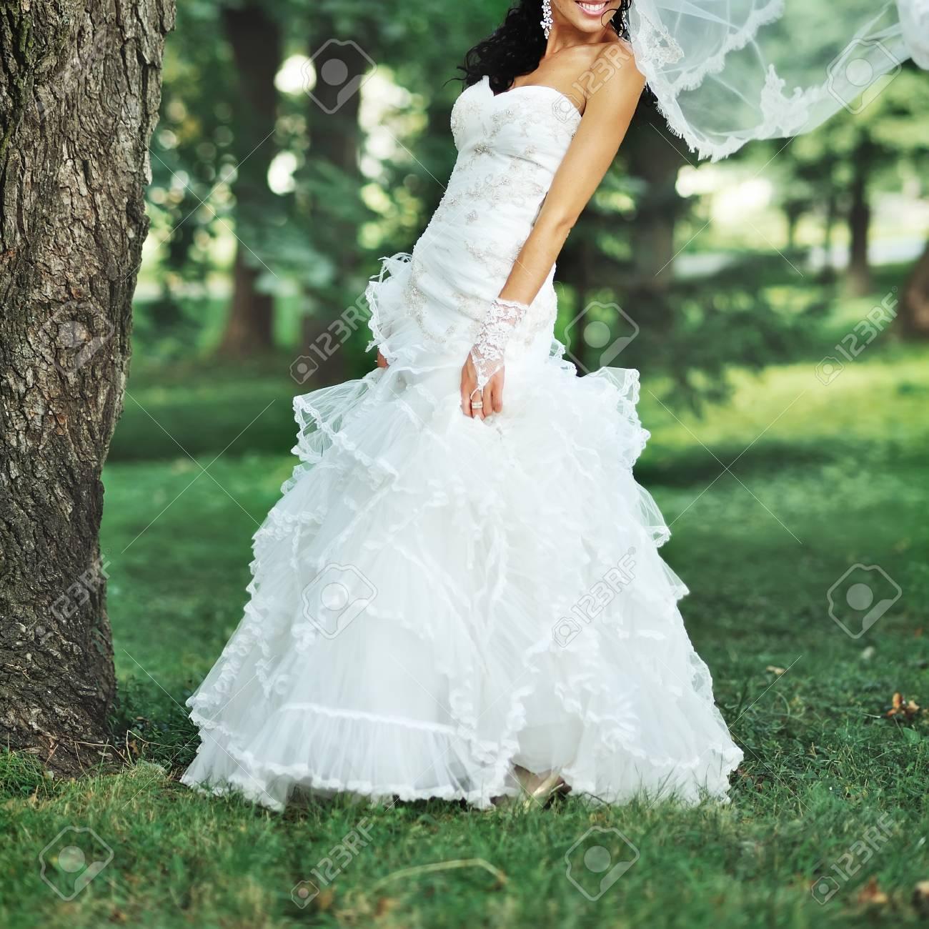 Fashion Brunette Bride Wearing Gorgeous Wedding Dress Stock Photo ...