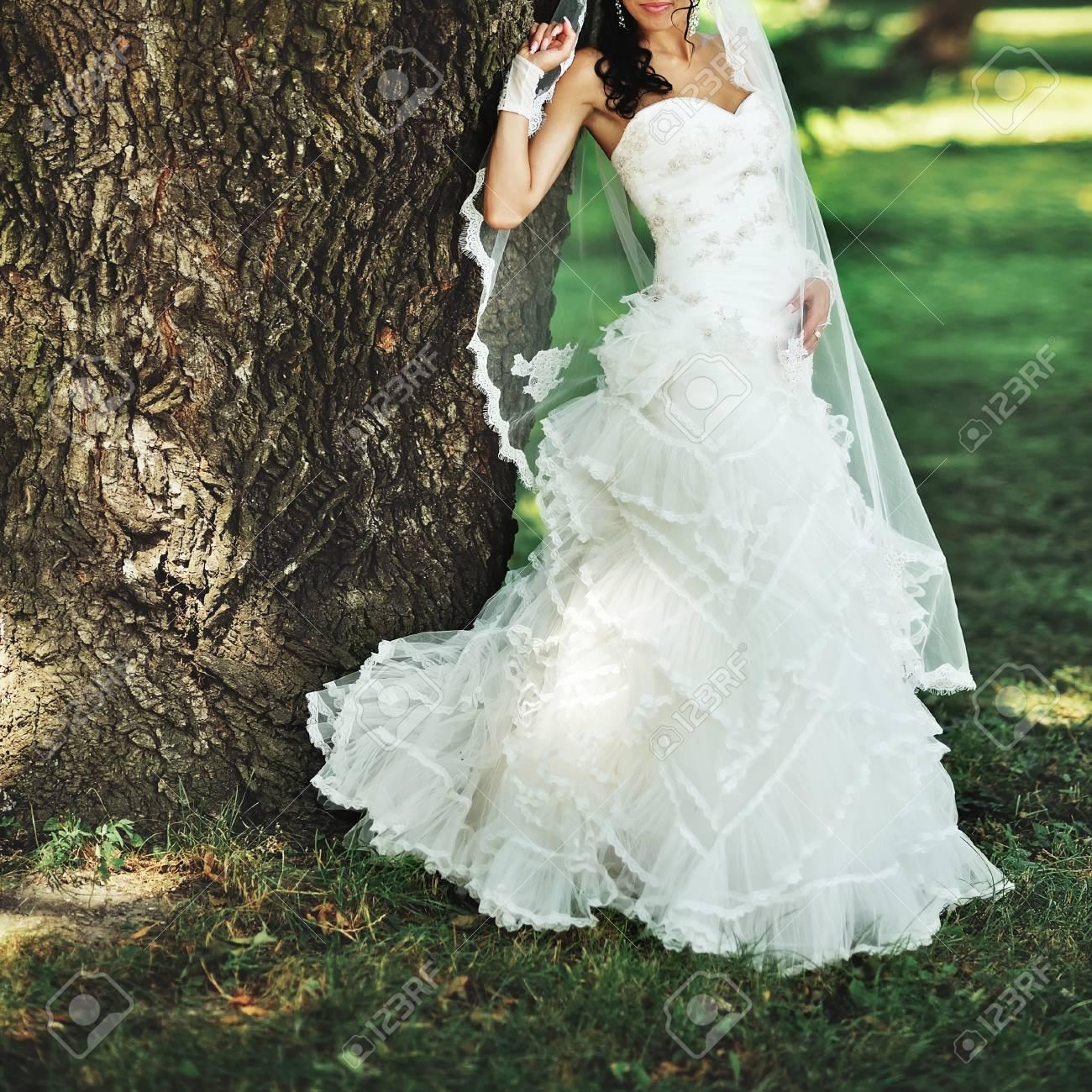 c4340799aa989 Art und Weise Brunette Braut trägt wunderschönen Kleid Hochzeit  Standard-Bild - 65985227