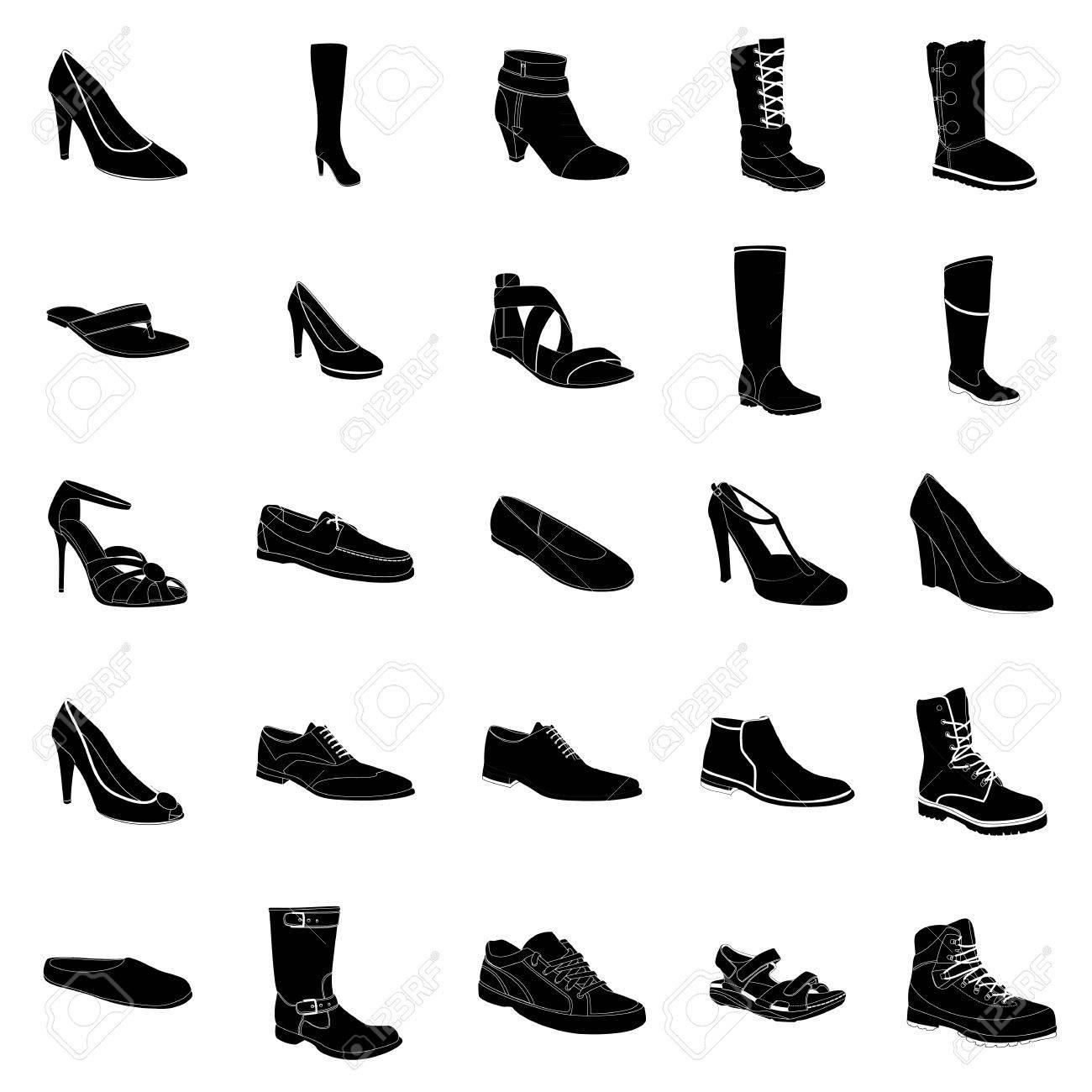 958c44bf97c9d Banque d images - De silhouettes noires Femme et chaussures pour homme,  détails blancs. Noms  Bottillon, biker boot, chaussures d affaires, talon-strap  ...