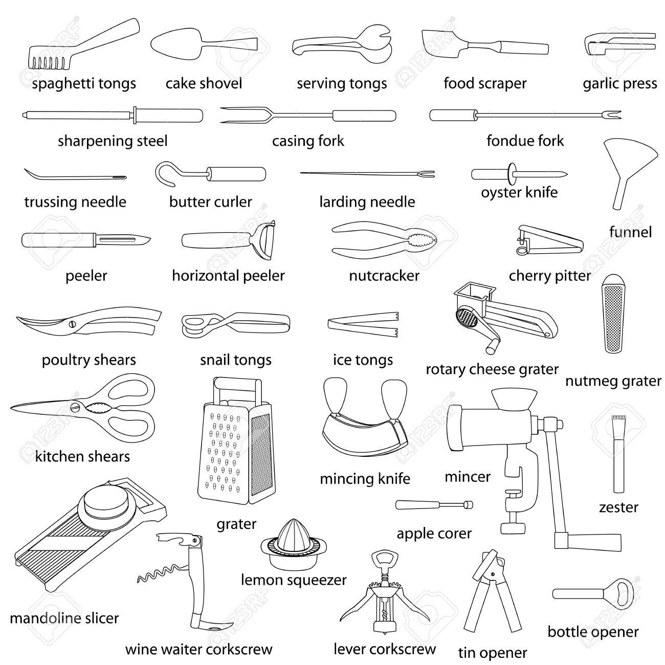 kitchen utensils names. Kitchen Utensils Illustrations Set. Cooking, Dinner Service, With Names. White Flat Outlined Names