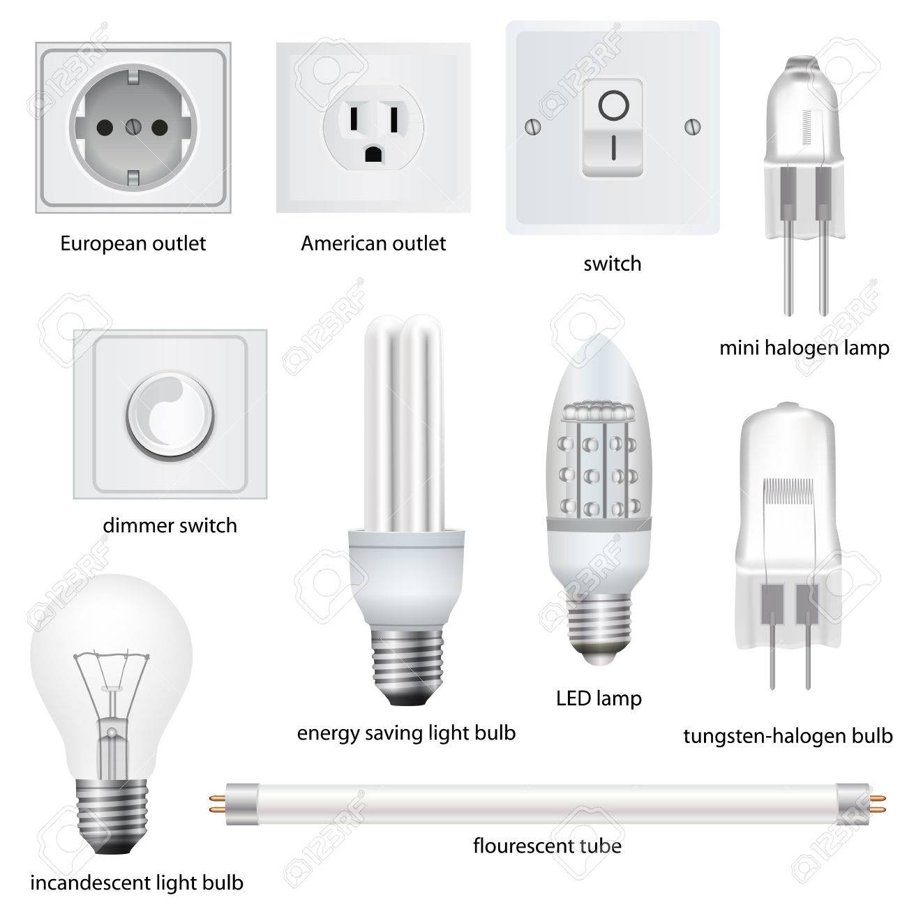 different kinds of outlets lamps switches with names vector realistic stock