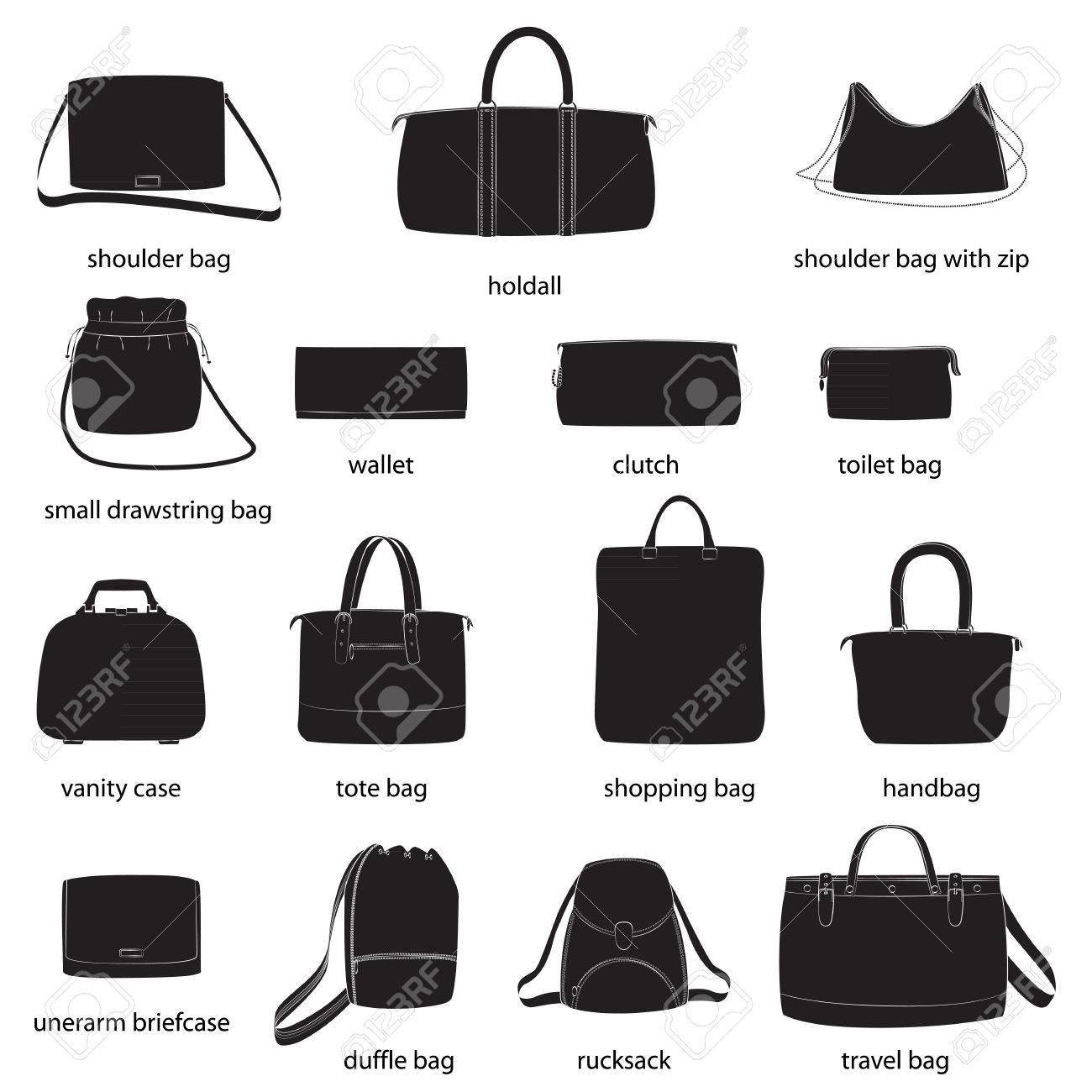 Set Of Woman Bags With Names. Black Silhouettes a9543414d616d