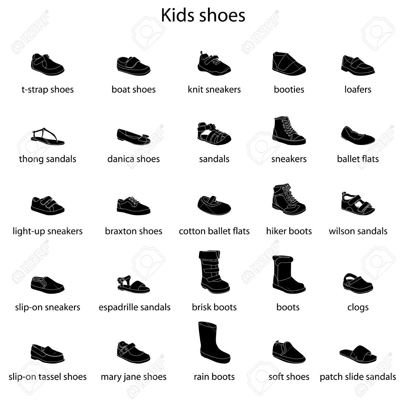 16083957d7 Foto de archivo - Zapatos de niños, conjunto, colección de calzado de moda  con nombres. Bebé, niña, niño, niño, niñez. Vector diseño aislado  ilustración.