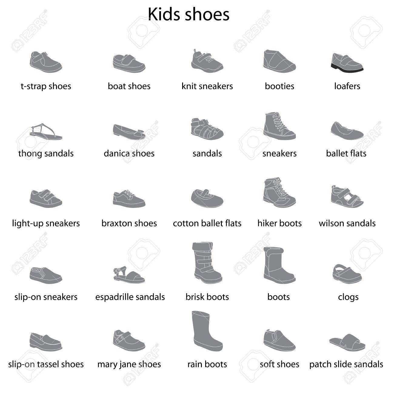 Kids Shoes, Set, Collection Of Fashion Footwear With Names. Baby ...