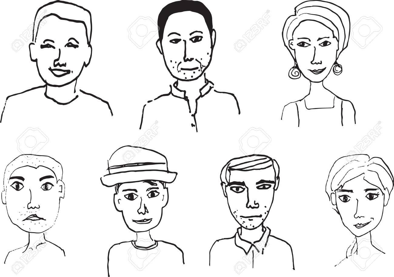 7 hand draw people faces in black and white stock vector 49100959