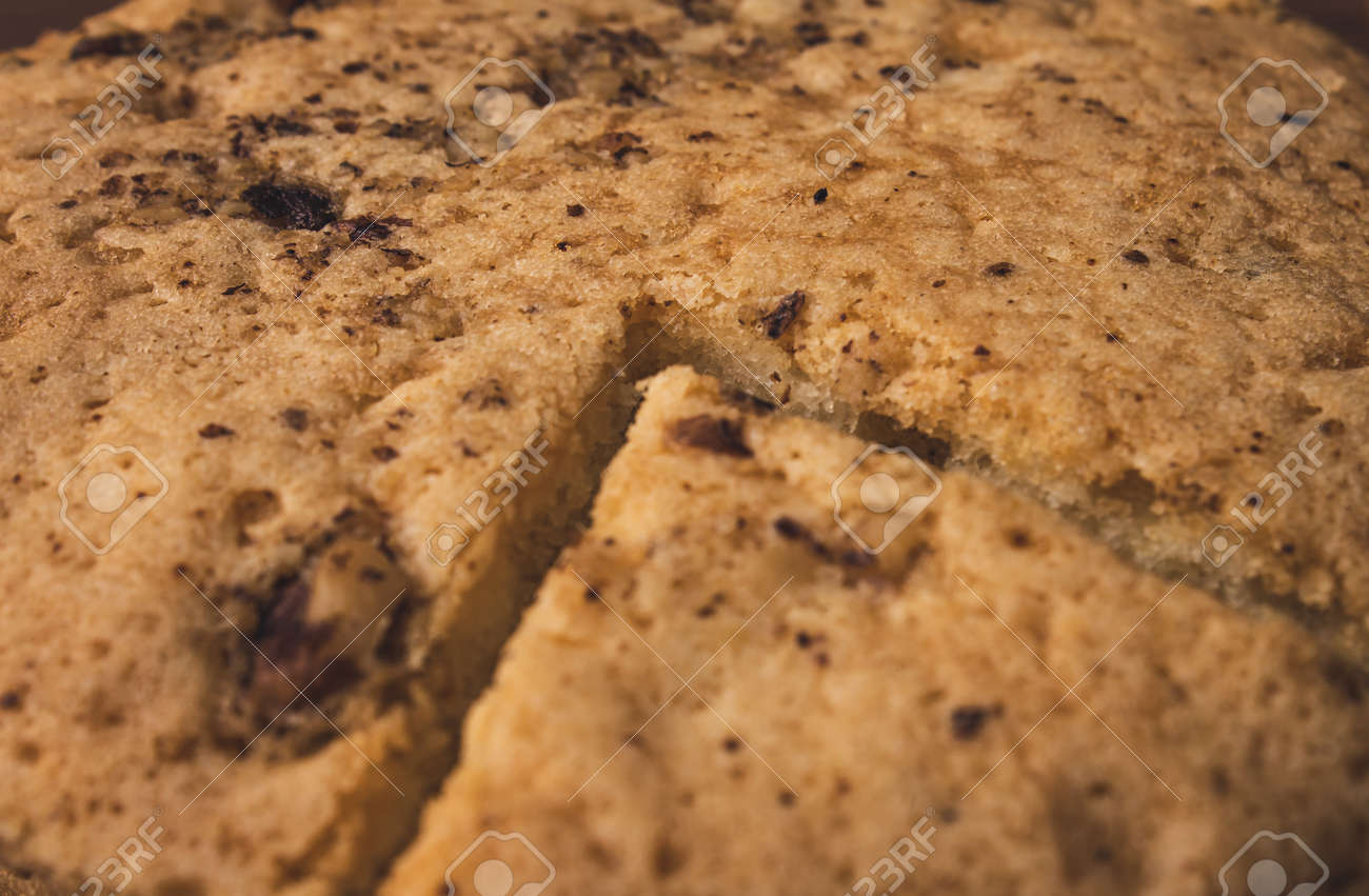 View of fresh and delicious homemade walnut cake - 164999881
