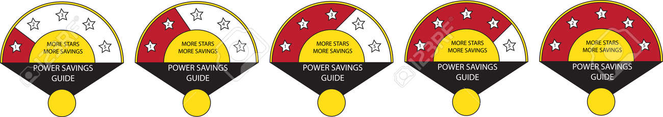 Energy star ratings usually affixed on electrical appliances to denote efficient and power savings. - 165153924