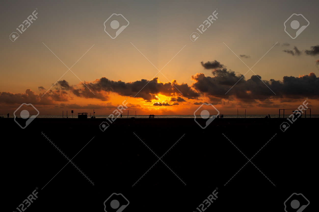Scenic view of the sunrise along Marina Beach, Chennai, India - 165637671